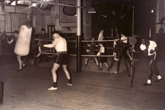 boxing gym black and white