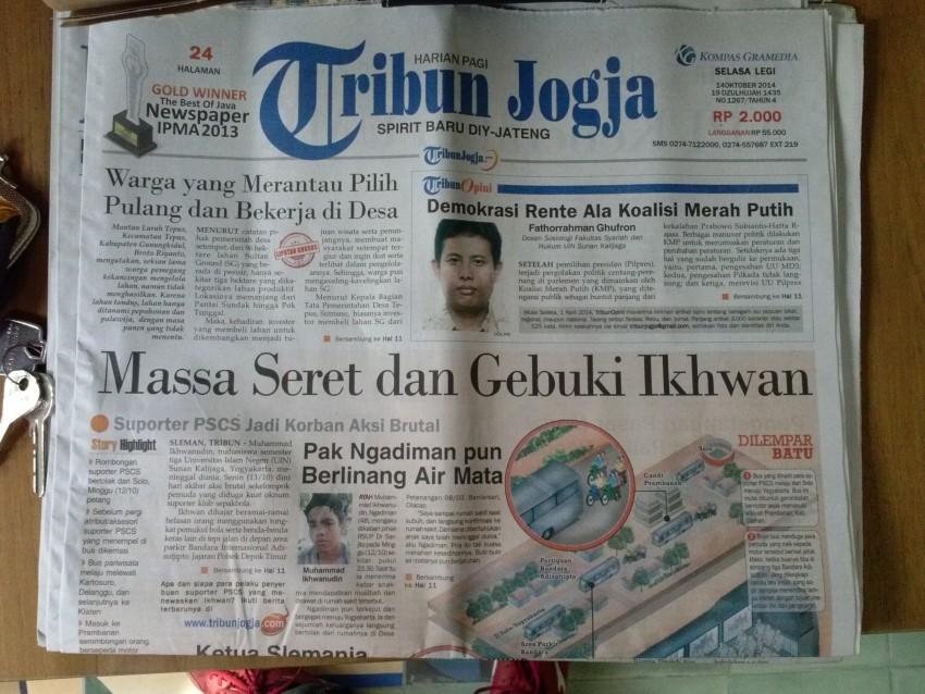 29. Tribun Jogja, October 2014.