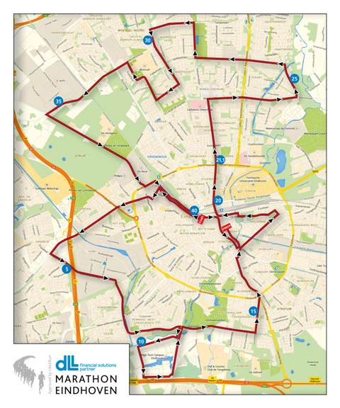 Eindhoven Marathon Course - Small